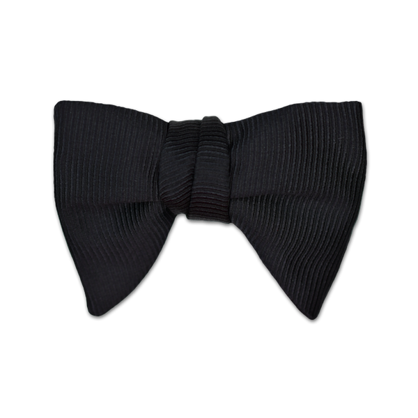 Modified Butterfly Bow Tie - Large - Black Fat Grosgrain Silk