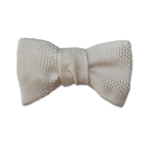 Modified Butterfly Bow Tie - Off-White Abstract Weave Silk - Shawn Christopher