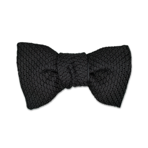 Modified Butterfly Bow Tie - Garza Grossa (Grenadine) Silk - Black - Shawn Christopher