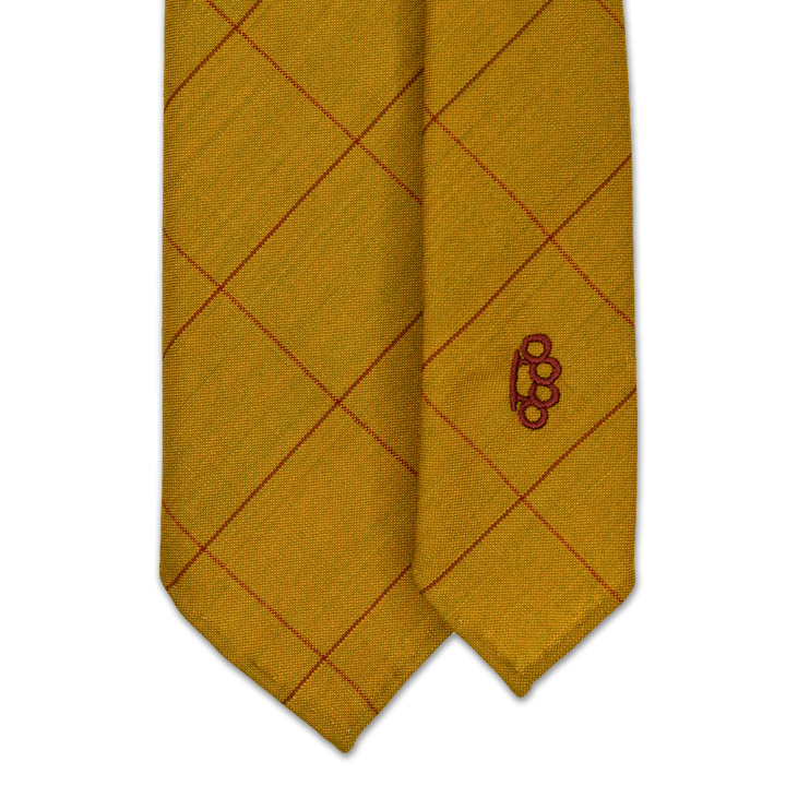 7-Fold Wool Tie - Gold with Red and Burgundy Windowpane - Handrolled - Shawn Christopher