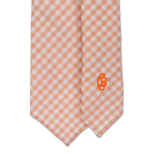 7-Fold Virgin Wool Tie - Orange and Cream Gingham - Handrolled - Shawn Christopher