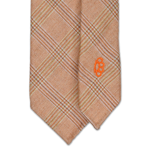7-Fold Cashmere/Silk Necktie - Orange, Cream and Brown Glen Plaid