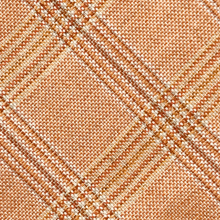 Cashmere Fabric - Orange with Brown and Tan Check* - Shawn Christopher