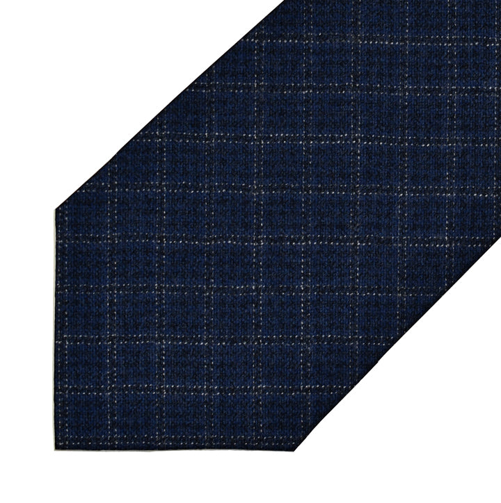 Piacenza 1733 Cashmere/Silk Blend - Navy with Black Windowpane - 7-Fold Necktie
