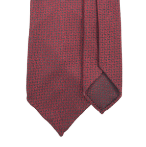 Textured Silk Tie - Burgundy with Black Diamond Plate - Handrolled - Shawn Christopher