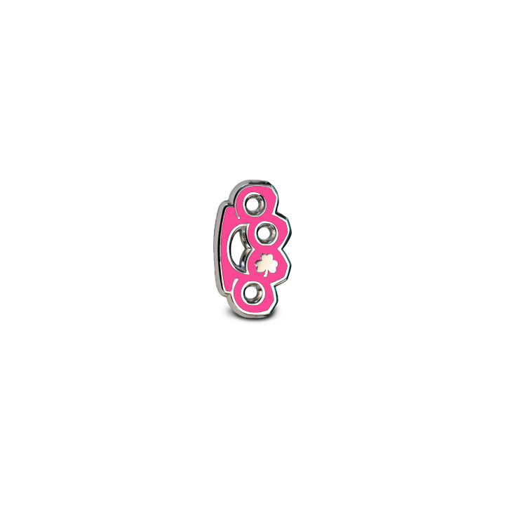 Brass Knuckles Lapel Pin - Pink
