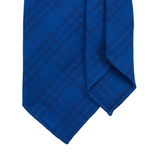 7-Fold Wool Tie - Electric Blue Check - Handrolled - Shawn Christopher