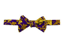 Italian Silk Bow Tie - Purple & Gold - Self Tie - Shawn Christopher