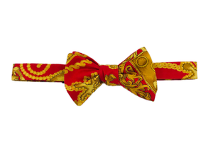 Italian Silk Bow Tie - Red & Gold - Self Tie - Shawn Christopher