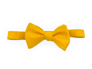 Italian Selvedge Edge Linen Bow Tie - Yellow - Self Tie - Shawn Christopher