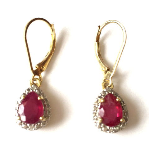 Royal Ruby and Diamond Drop Earrings by SOMMERSPARKLE