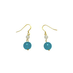 Amazonite and Moonstone Drop Earrings by SOMMERSPARKLE