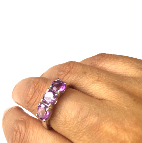 Amethyst Sterling Silver Trilogy Ring