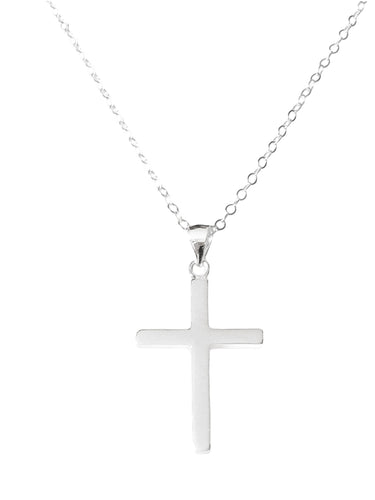 Solid Sterling Silver Cross Necklace, A Solid Sterling Silver plain cross pendant with a sterling silver necklace, It is also ideal as a First Communion gift, Confirmation, Christening, Baptism and Christmas