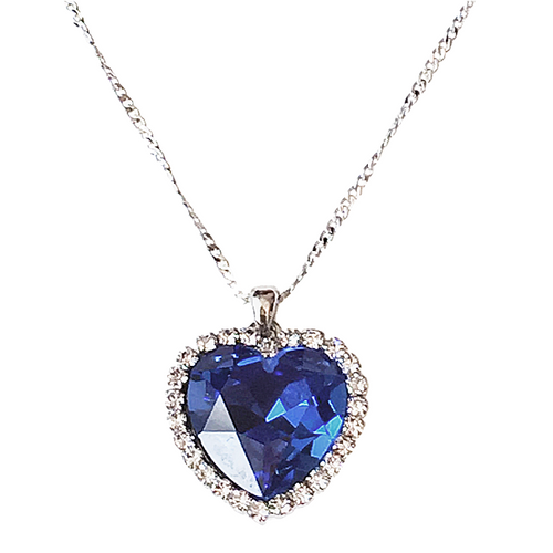 Deep Blue Heart Necklace