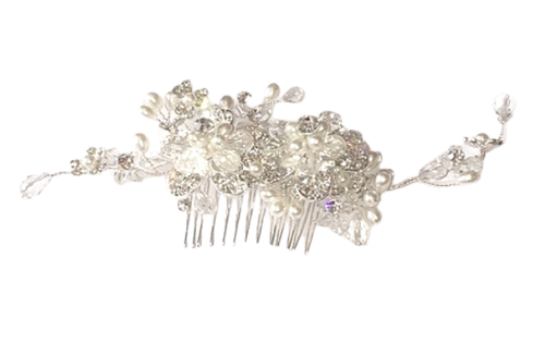 Deluxe Crystal and Pearl Flower Hair Decoration by SommerSparkle