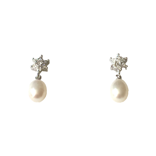 Freshwater Pearl Cubic Zirconia Earrings