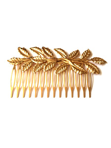 Gold Leaf Comb, This pretty hair comb is lovely and lightweight, in a rose gold tone and with its leaf design, it is a great hair accessory to enhance your hair for that extra special occasion