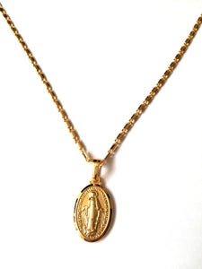 Gold Miraculous Medal Necklace, A beautiful high quality necklace with a miraculous medal pendant of the Immaculate Virgin Mary, Would make a beautiful holy gift for Communion, Baptism, Christening, Easter, Christmas or other special occasion