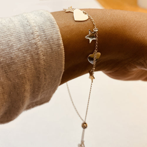 Hearts and Stars Sterling Silver Bracelet model by SOMMERSPARKLE