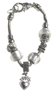 Padua Charm Bracelet, This stunning genuine Italian Padua silver beaded Charm Bracelet on a snake chain will add glamour to any outfit and occasion