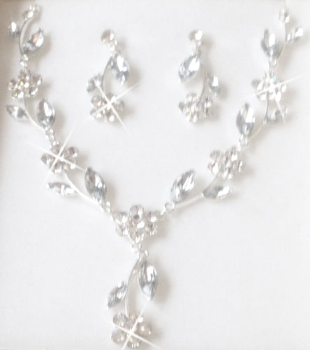 'Majestic. Crystal Flower Jewellery Set, Perfect to wear at a wedding, prom, party or special occasion