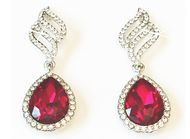 Opulent Red Earrings, These glamourous drop earrings are the epitome of opulence, the rich red waterdrop crystals are set in a multitude of crystal surround, cascading down from a unique clear crystal design