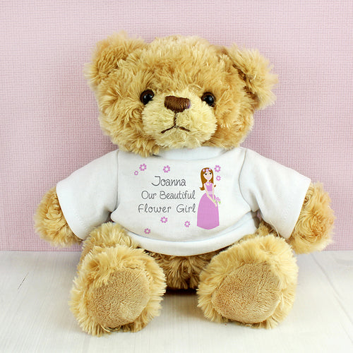 Personalised Flower Girl Teddy Bear Cuddly Toy