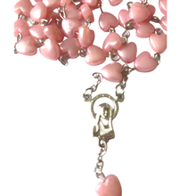 Pink Heart Shaped Rosary Beads close up by SommerSparkle