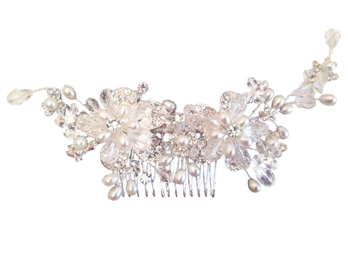 Premium Flower Hair Decoration, Feel like a Fairytale Princess with this breathtakingly beautiful hair comb decoration adorned with layers of sparkling Austrian crystal and hand-cut premium crystals in a floral design, enchanted with sprays of freshwater pearls entwined in crystal along a silver tone comb