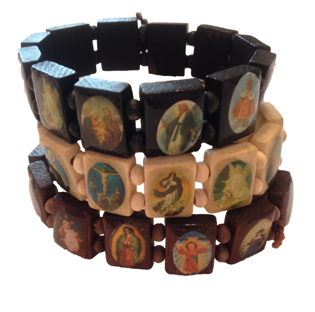 Religious Saints Bracelet, Elasticated handmade wooden all saints bracelet / Jesus bracelet / religious bracelet