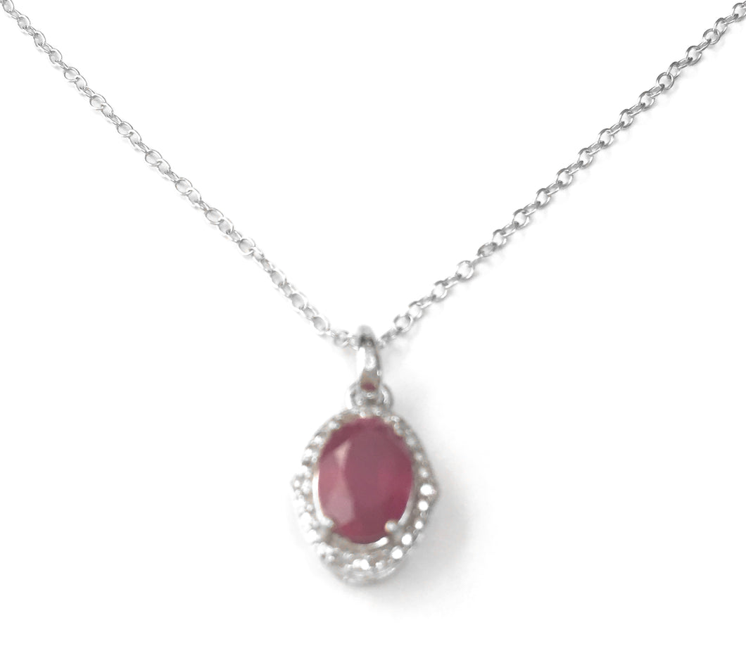 'Maria' Ruby & Diamond Sterling Silver Necklace, A magnificent and majestic piece, designed with 1.750 carats of ruby, the gem of choice for royalty; surrounded by 0.040 carats of diamonds, exquisitely placed on a pure sterling silver chain