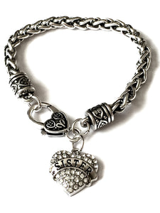 'Sister' Charm Bracelet, A lovely handcrafted silver toned metal braided bracelet, the perfect gift for a sister or someone you think of as a sister