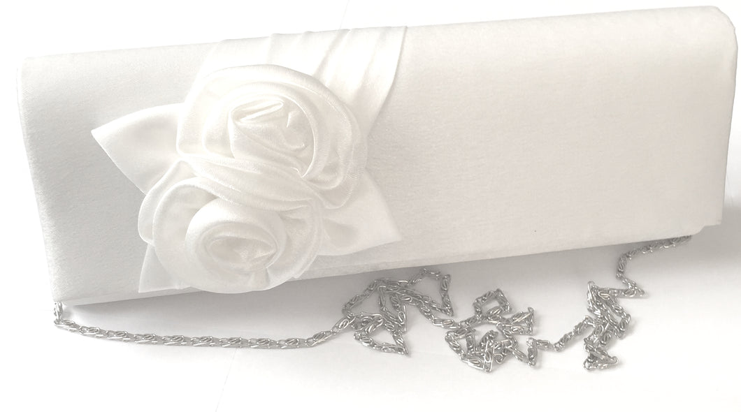 'Victoria' Clutch, a beautiful clutch encased in satin with a white floral design which graces the front of the clutch