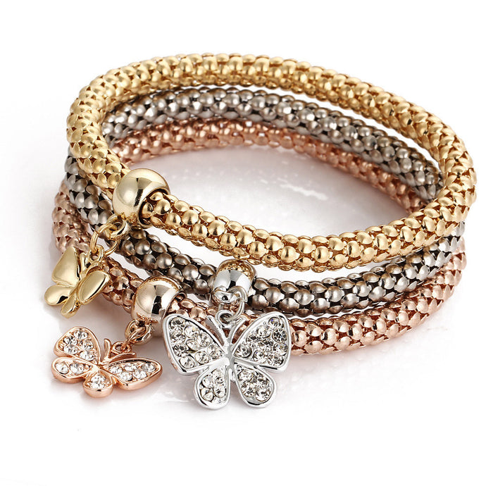 3 Piece Charm Stacker Bracelet