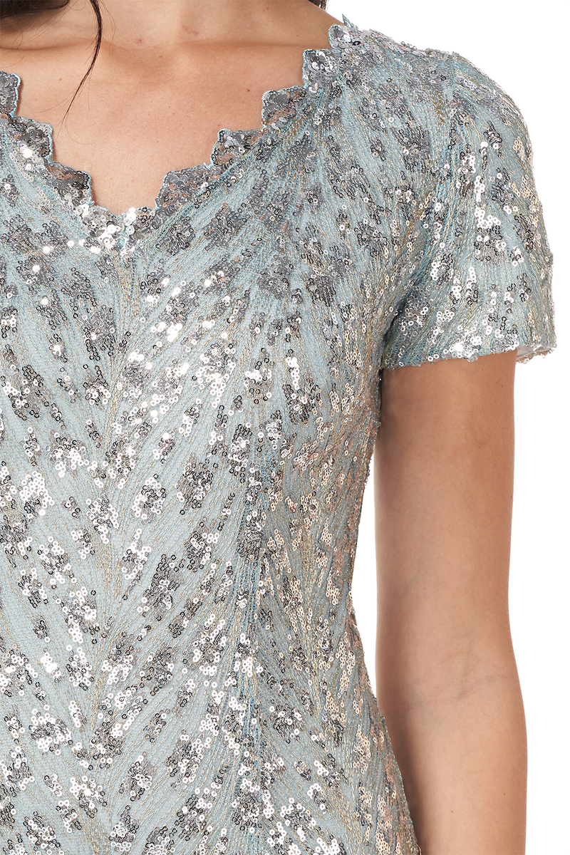 Short Sleeve Sequin Cocktail