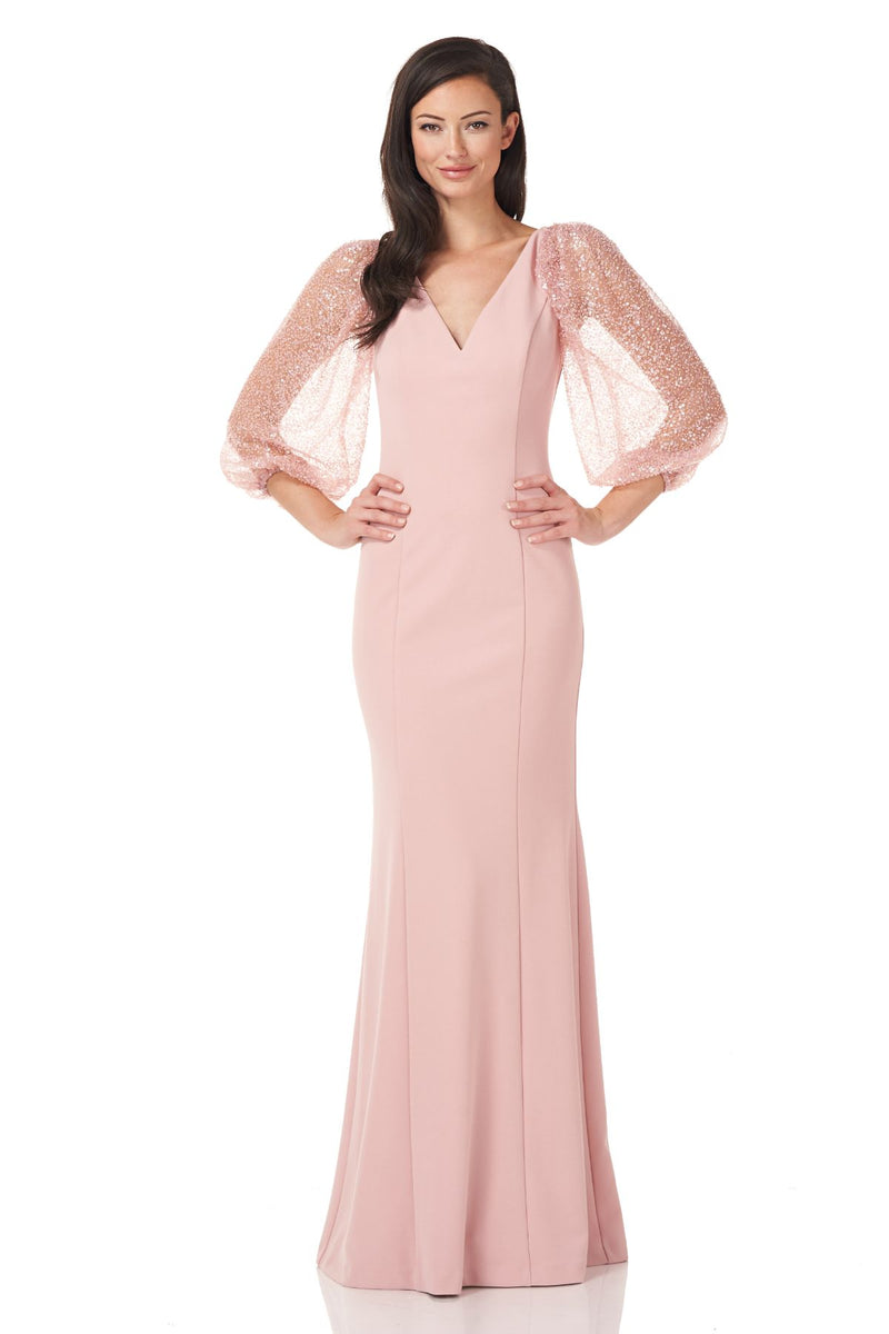 BEADED SLEEVE CREPE GOWN