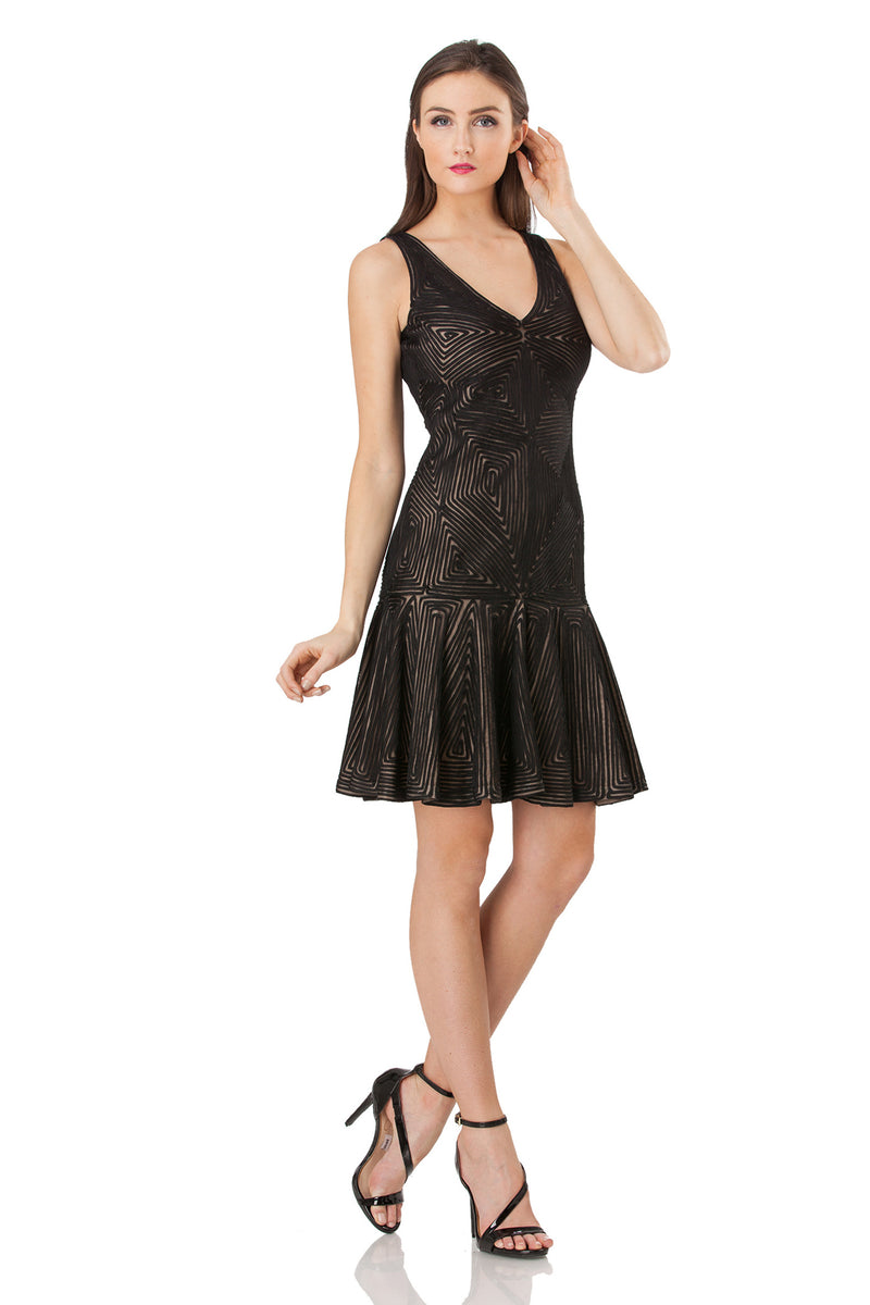 V-Neck Fit and Flare Cocktail Dress - JS Collections