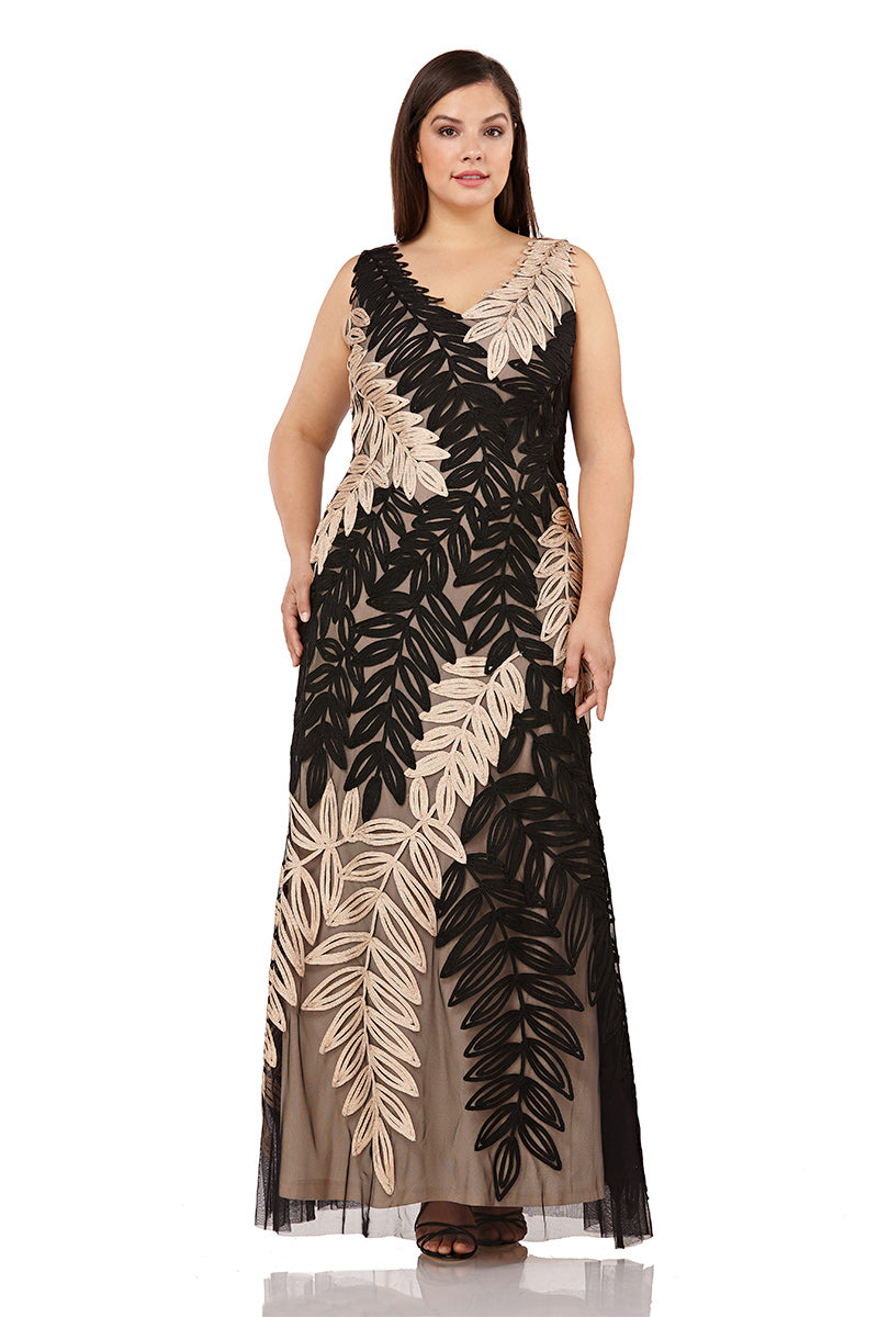 Leaf Embroidered V Neck Gown Curve