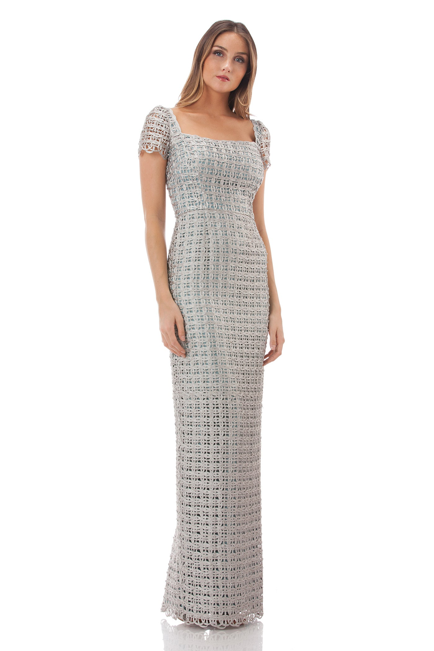 Macrame Square Neck Gown – collectionsjs