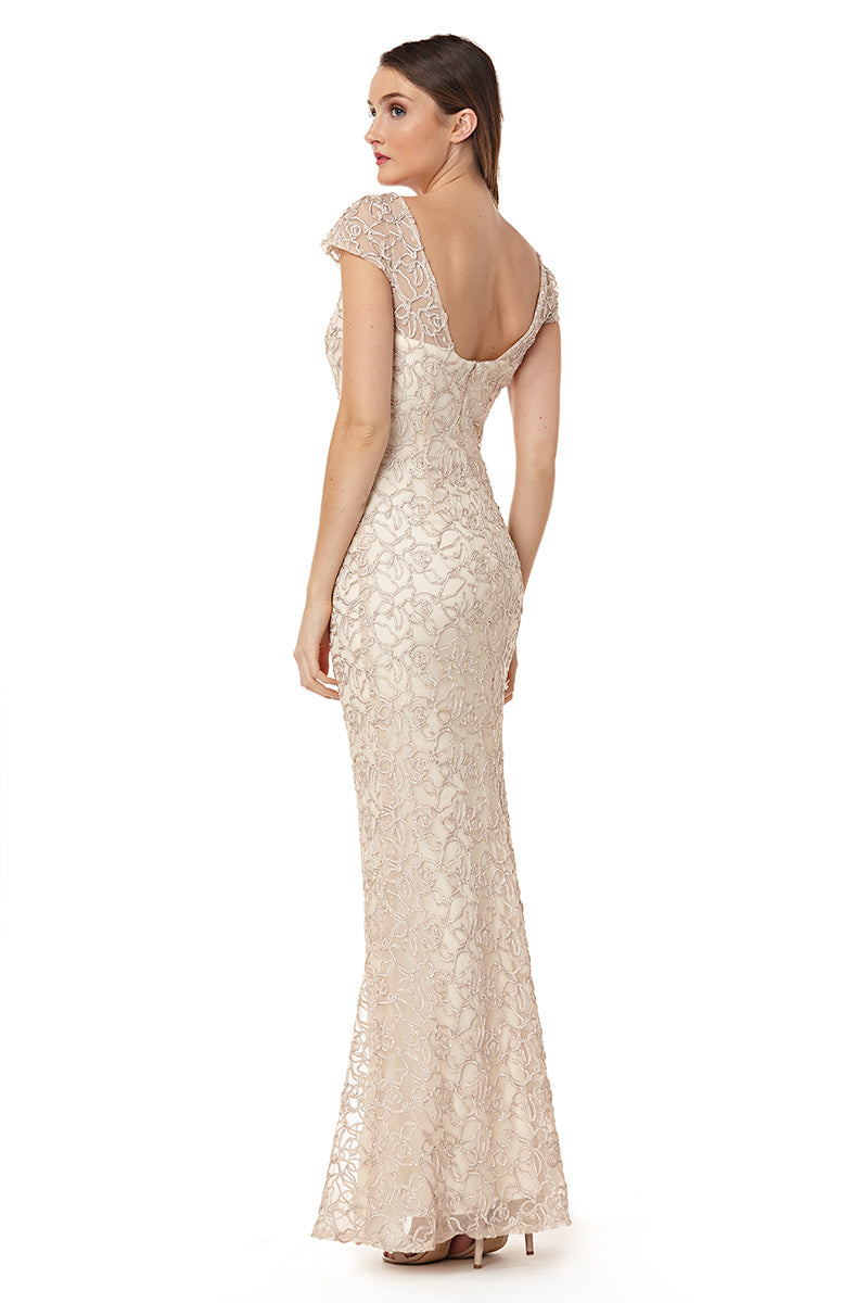 Illusion V Neck Cap Sleeve Gown