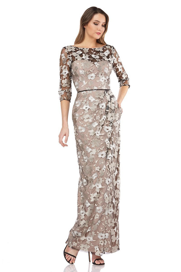 Floral Embroidered Mesh Surplice Gown