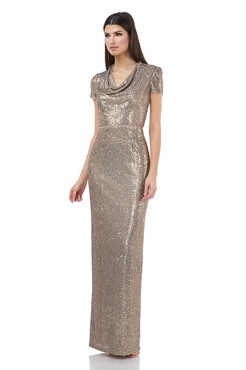 Cowl Neck Sequin Gown
