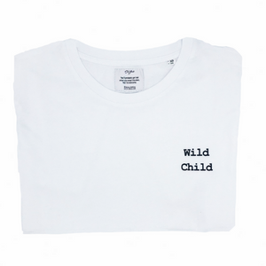 WILD CHILD T-shirt | OH YAZ Beyoncé inspired fashion white Tee witte t-shirt minimalistic quote statement T-shirt sustainable clothing brand ecofashion duurzame mode ikkoopbelgisch made in Antwerp