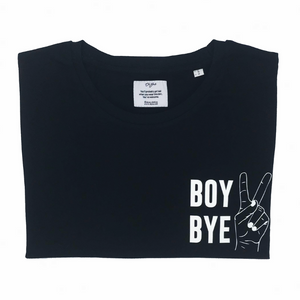 BOY BYE T-shirt Oh Yaz Beyoncé inspired fashion black Tee zwarte t-shirt minimalistic quote statement T-shirt sustainable clothing brand ecofashion duurzame mode ikkoopbelgisch made in Antwerp  Jitske Van de Veire