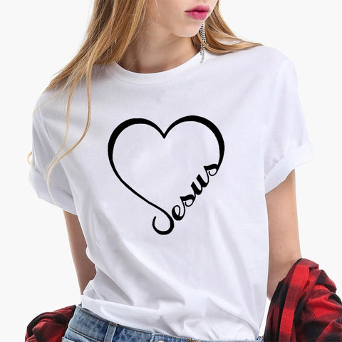 Jesus Print Heart-shaped T-shirt Women Short Sleeve