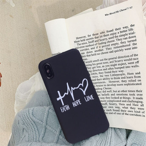 JAMULAR Simple Letter Love Hope Faith Case Cover For iPhone
