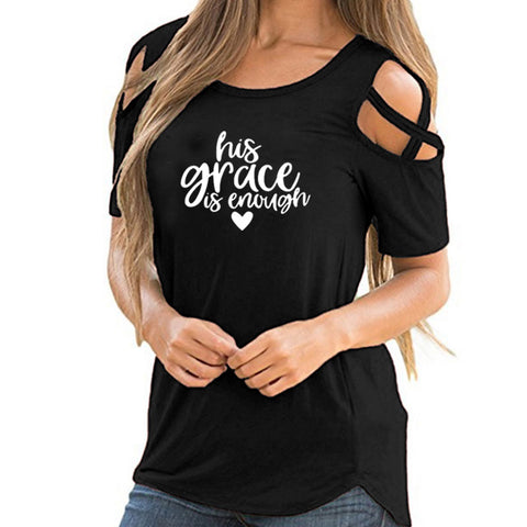 His Grace Is Enough T-Shirt Christian Jesus Tee Clothing His Grace Is Sufficient Graphic Tops