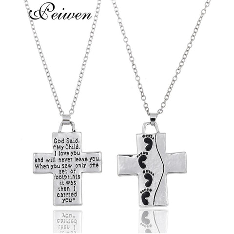 Fashion Children Footprints Cross Pendant Necklace God Said on Back Will Never Leave You Prayer Jewelry Gifts For Women Men Kids