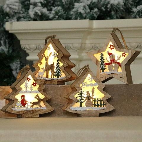 Christmas home decorations Christmas Decorations Wooden Glowing Five-Pointed Star Scene Decoration Pendant boże narodzenie